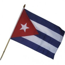 Cuba stick flag 12  X 18 inches w/ 24 inch stick