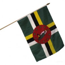 Dominica stick flag 12  X 18 inches w/ 24 inch stick