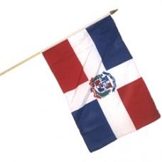 Dominican Republic stick flag 12  X 18 inches w/ 24 inch stick