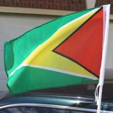 "Guyana car flag - 18 x 12"" - Plastic Clip"""