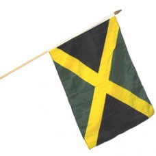 Jamaica polyester flag 12  X 18 inches w/ 24 inch stick