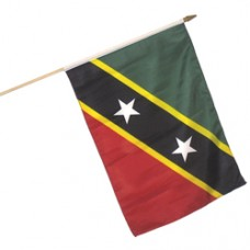 St. Kitts And Nevis 100% Cotton flag 12  X 18 inches with a 24 inch stick
