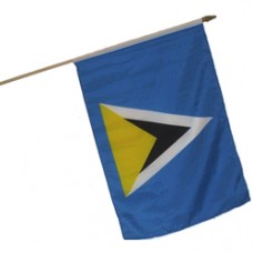 St. Lucia 100% Cotton flag 12  X 18 inches with a 24 inch stick