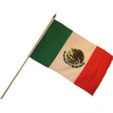 Mexico flag 12  X 18 inches with a 24 inch stick