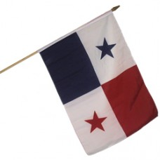 Panama 100% Cotton flag 12  X 18 inches with a 24 inch stick