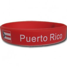 Puerto Rico Flag Red Silicon Bracelet