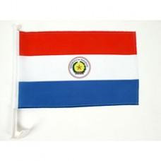"Paraguay Car Flag  - 12 x 18"" - Plastic Clip"""
