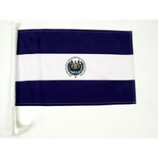 """El Salvador Car Flag  - 12 x 18"""" - Plastic Clip"""""""