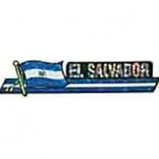El Salvador flag 11.5X 2.5 inch bumper sticker