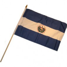 El Salvador stick flag 12  X 18 inches w/ 24 inch stick