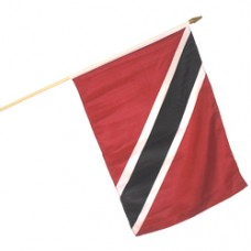 "Trinidad And Tobago 100% Cotton flag 12 X 18"" with 24 inch stick"""
