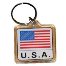 United States flag square key ring