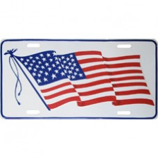United States wavy flag license plate