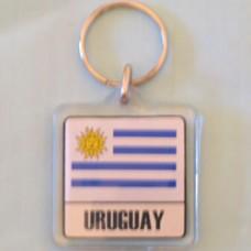 Uruguay flag square key ring