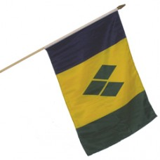 St. Vincent And The Grenadines 100% Cotton flag 12  X 18 inches with a 24 inch stick