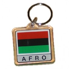 Afro, African or Pan American flag square key ring