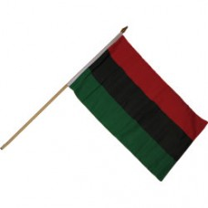 Afro American 12X18 polyester flag w/ 24 stick