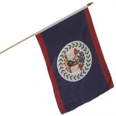 Belize stick flag 12  X 18 inches w/ a 24 inch stick