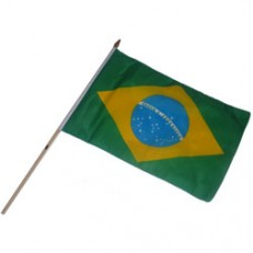 Brazil 12  X 18 inches polyester flag w/ 24 inch stick
