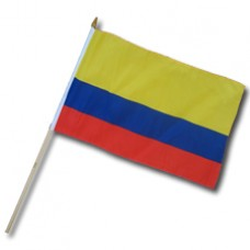 Colombia flag 12  X 18 inches w/ 24 inch stick