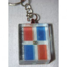 Dominican Republic flag Cube lucite key ring