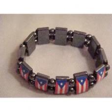Puerto Rico flag Hematite Stretch Bracelet